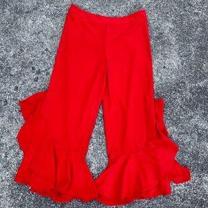 Anthro Red Ruffle Pants